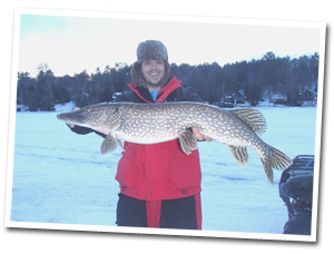 Pike caught ice fishing